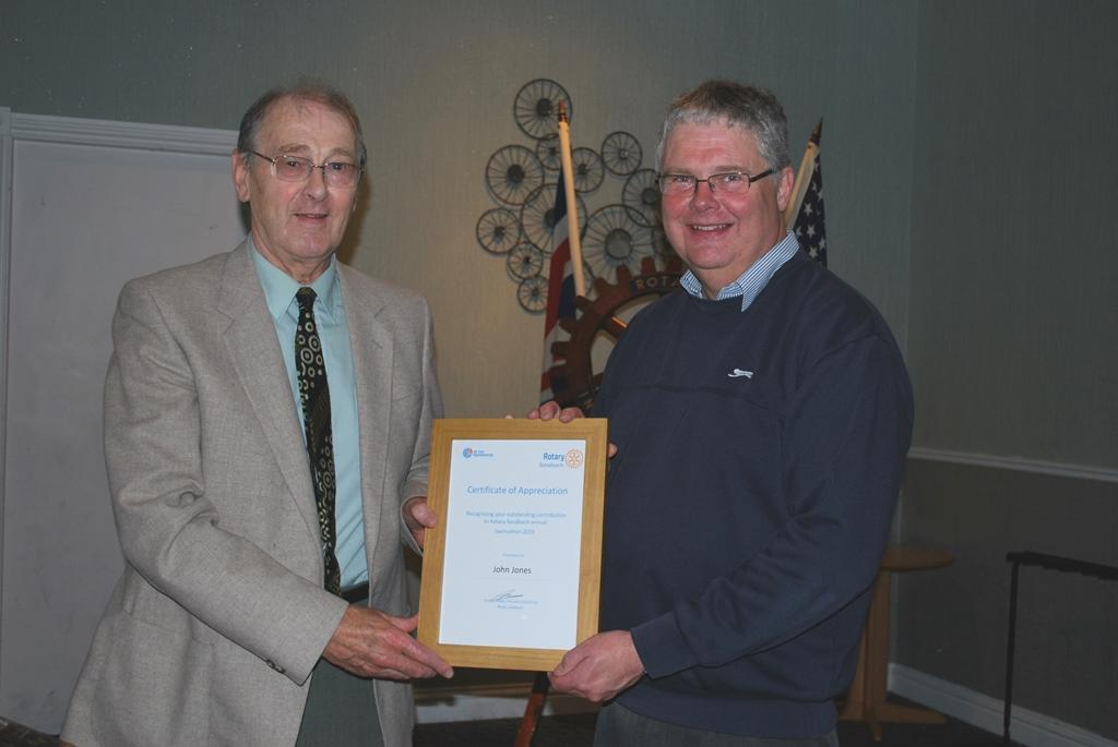 Friends of Rotary - John receiving the Certificate of Appreciation from President Elect Rtn. Richard Hovey
