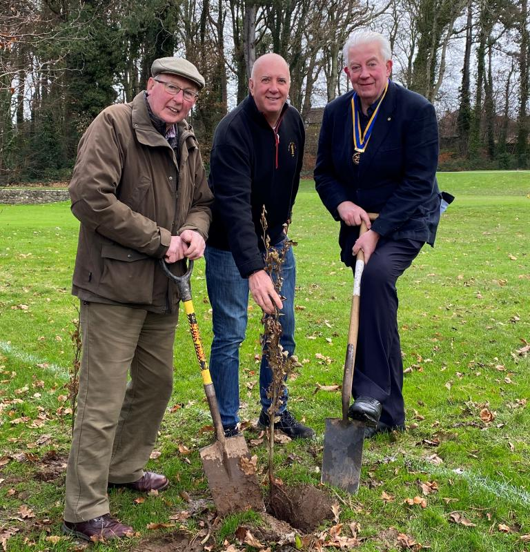 Tree Planting - John Perry, Derek Johnston, Vice-Captain of HBGC and President Greg planting a tree at the Golf Club
