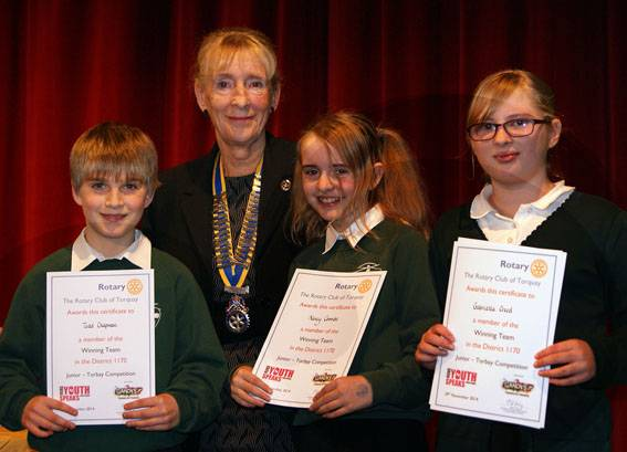 Youth Speaks Pictures 2014-15 - Stoke Fleming Community Primary winning junior team with Torquay Rotary president Lyn Smith.