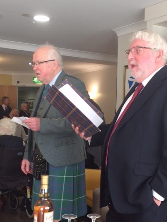 Scottish Lunch at Tor-Na-Dee Care Home, 25Jan18 - Rotarians Des Chrystal and Ken Wright led the entertainment,