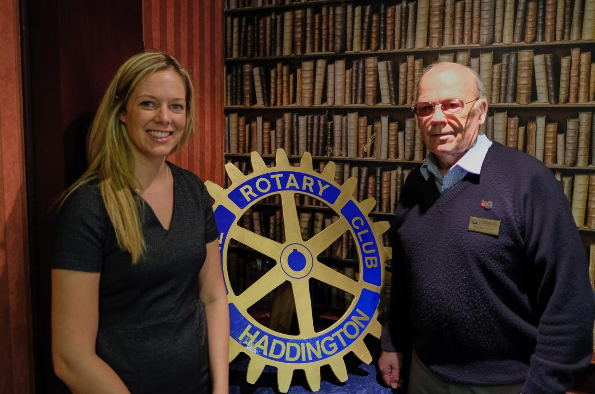 Kirsty Wood shown with Rotarian Bob McKinnon