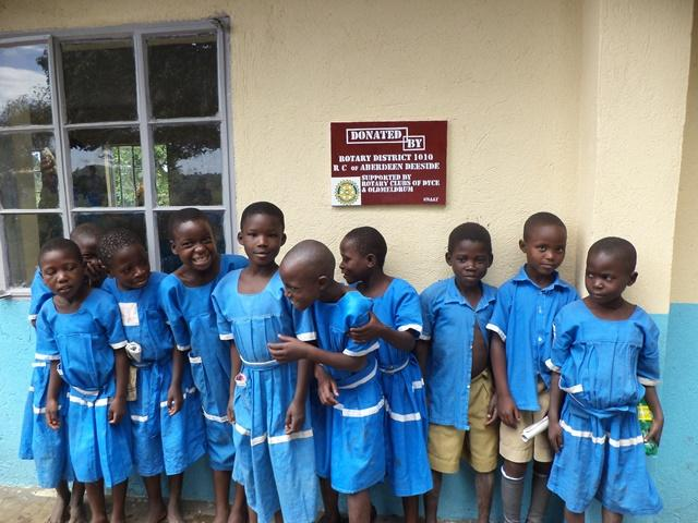 Kitarasa Students outside the refurbished classroom