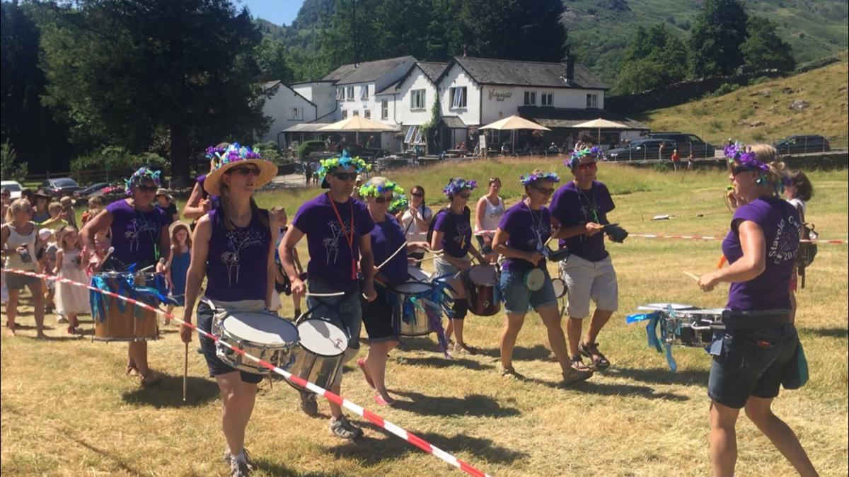 Langdale Gala - Gatekeeping - The Gala starts with the children's procession headed by the Kookaburra Drummers