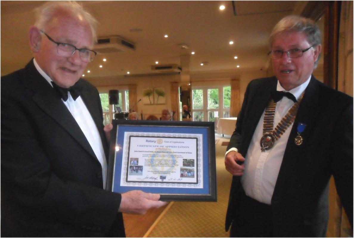 "Charter Night and Handover 2017 - President John Metcalfe presents a ""Certificate of Appreciation"" to Lord Petre"
