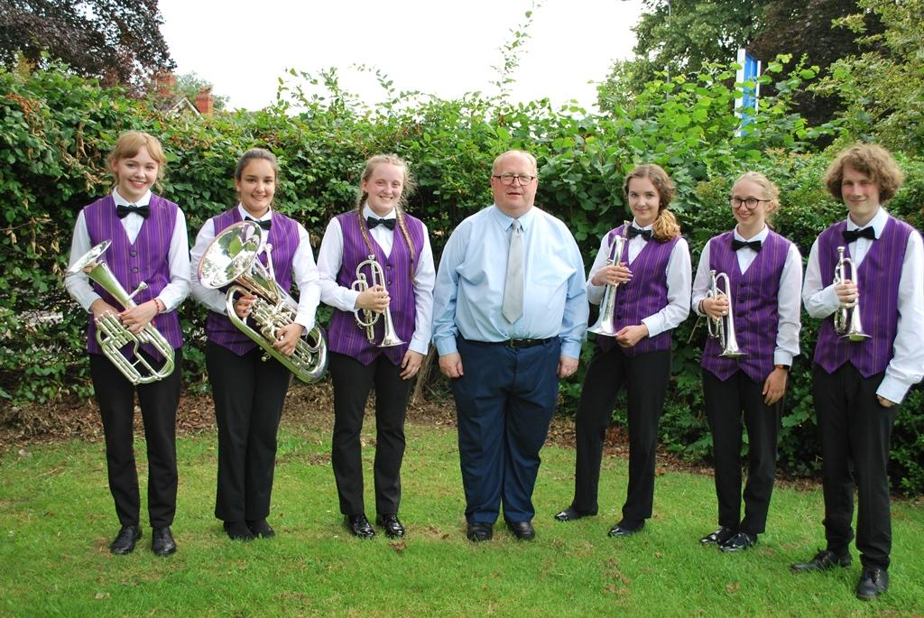 Director of Music Nigel Birch with Musicians leaving the Band for further studies