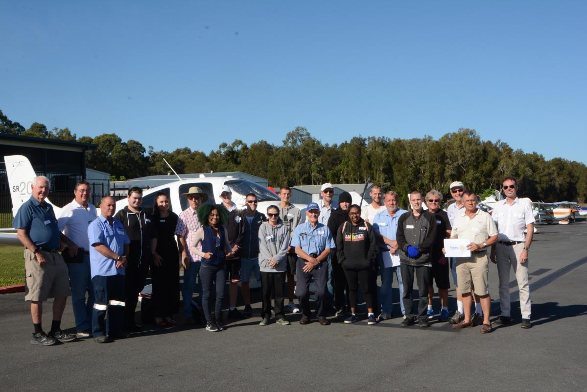 Rotary e-club of aviation- VP Lance Weller  with guests and pilots