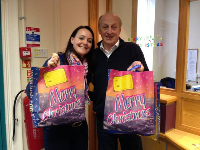 Malcolm Goodson, IPP Norwich St Edmund, delivers presents to the Leeway office in Norwich.