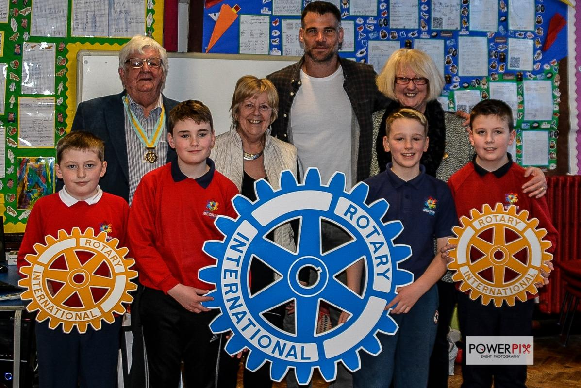 The Presentation of the Charter Certificate for Meidrim School Rotakids by rugby legend Mike Phillips