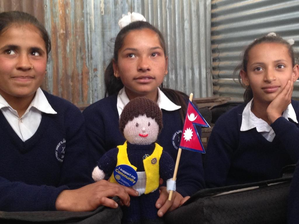 THE MAIKOT PROJECT - 'Gordon' our club mascot enjoying a school lesson with pupils at the Maikot Secondary School in Nepal