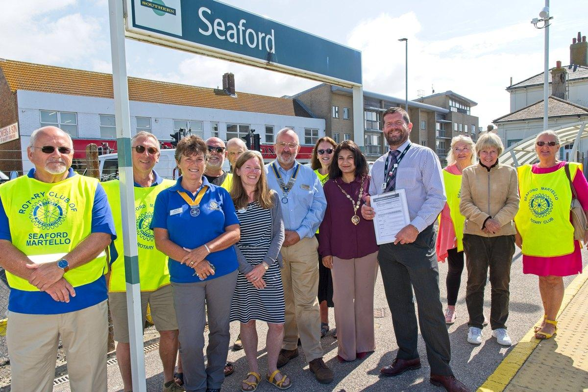 Members of Martello Rotary at Seaford Station