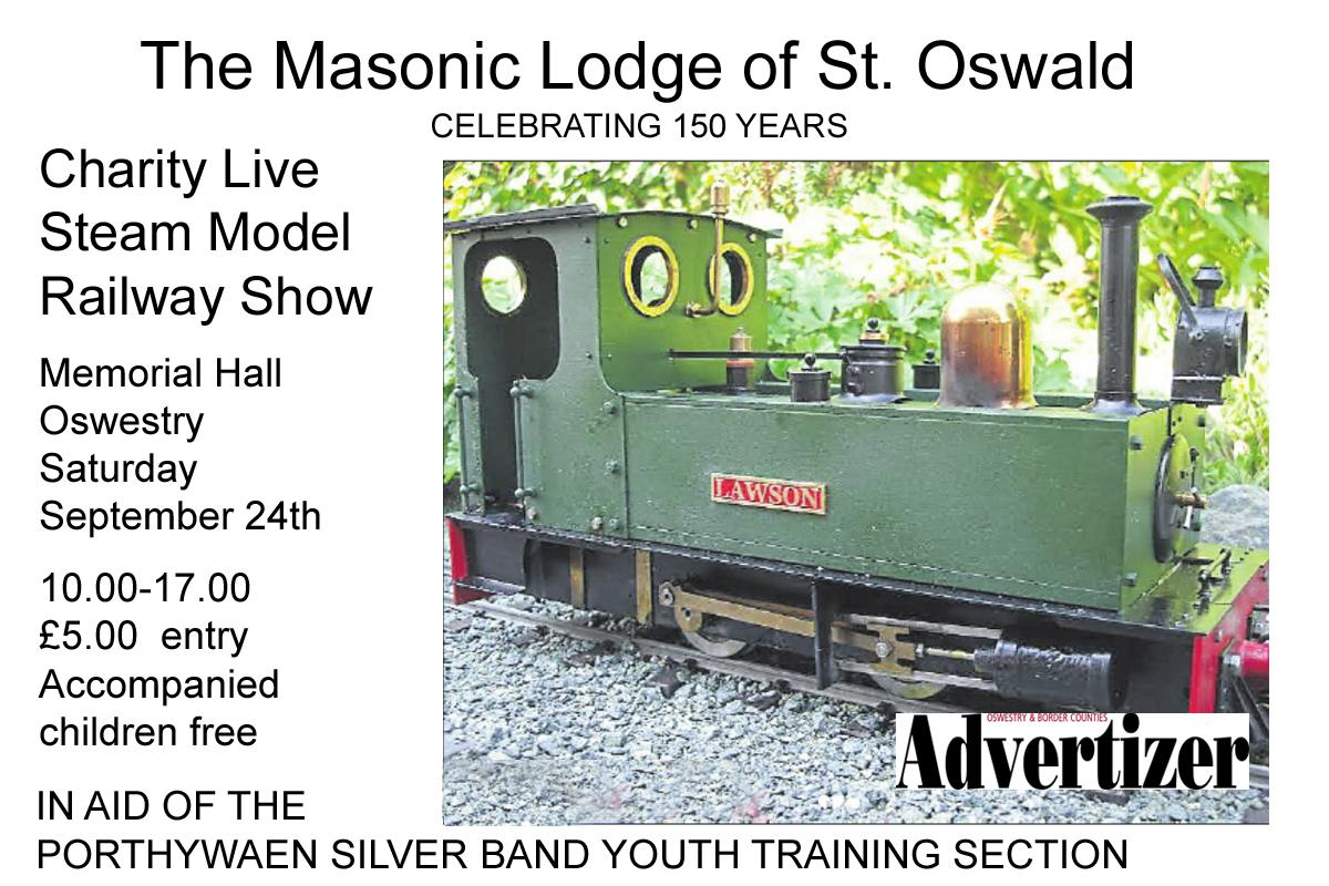 Charity Steam Model Railway Show - Memorial Hall, Oswestry 10.00-17.00