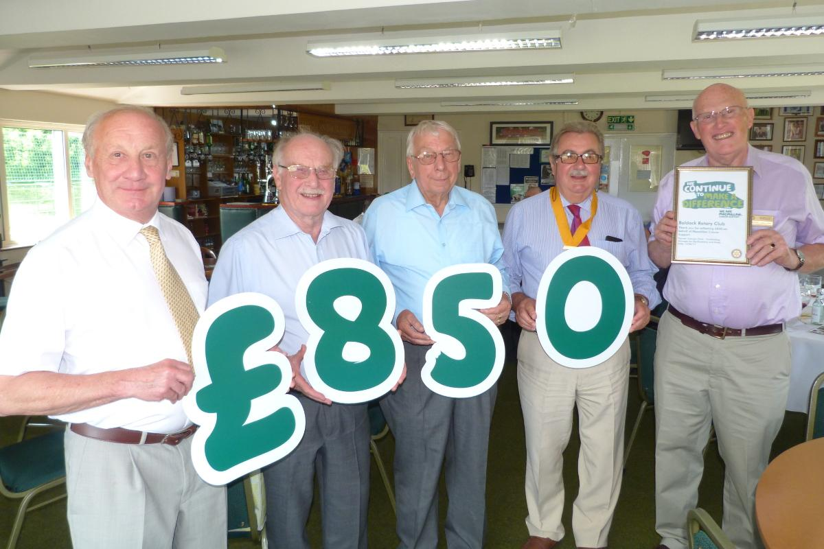 Macmillan says Thank You to Baldock Rotary - Baldock Rotarians raise £850 for Macmillan Cancer