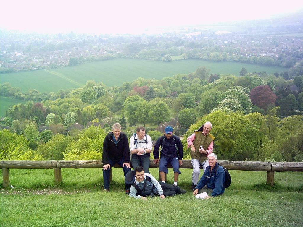 Training 3 peaks Challenge May '06 - Men resting - view of Princes Risborough