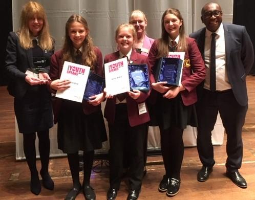 Champions Esther, Anna, and Amelie with Headteacher Mr Botwe, Teacher Mrs Burke and Rotarian Mary Grant.