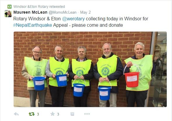 Windsor and Eton Rotary Club Collecting for Nepal Earthquake