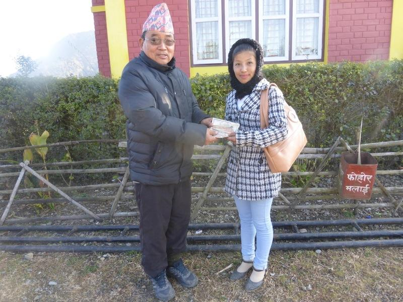 Our sponsored Nepalese student receives direct financial help from South Cave Rotary towards her studies