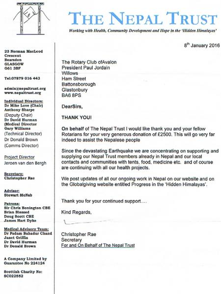 Thank-you letter from The Nepal Trust