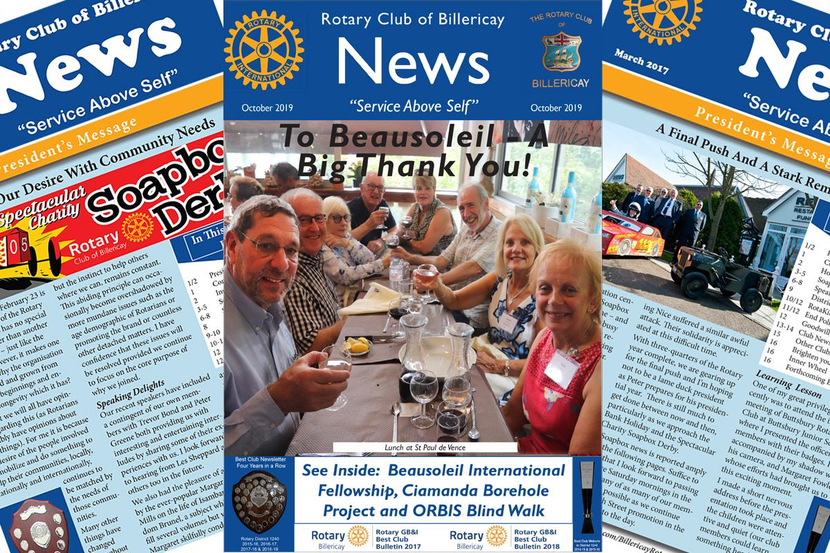 Rotary Club of Billericay October Newsletter