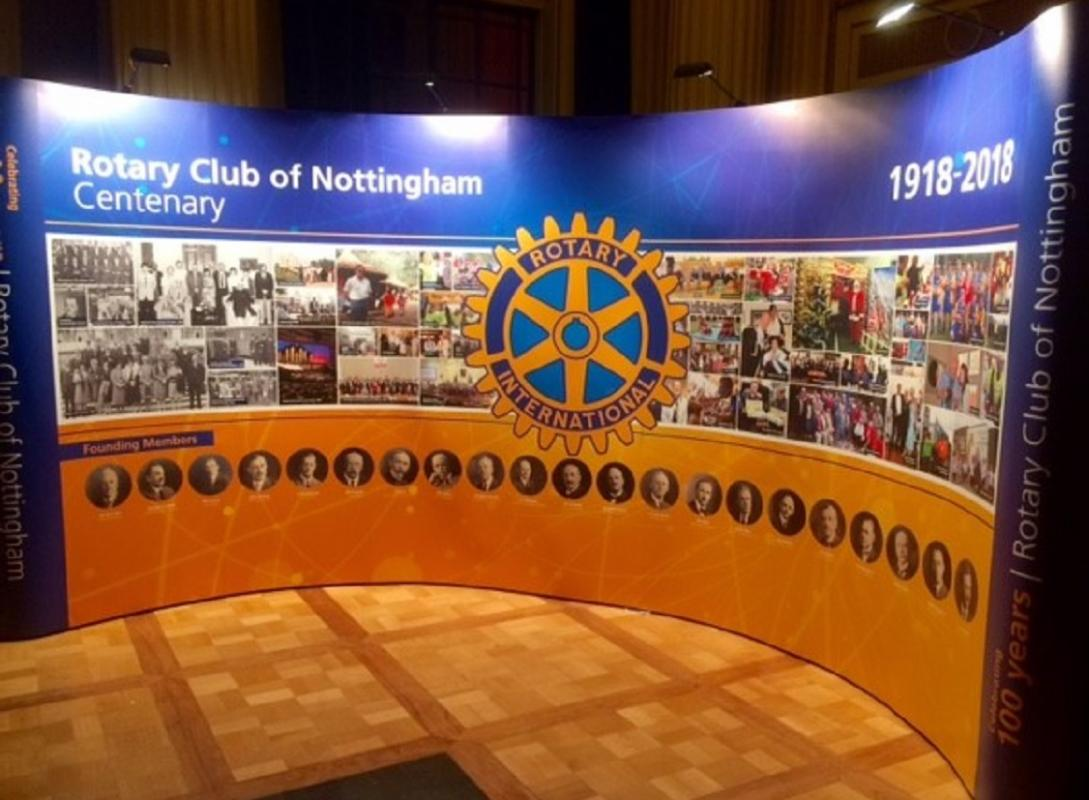 Display banners record 100 year history for Lord Mayor - Rotary Club of Nottingham Centenary in Pictures by John E. Wright