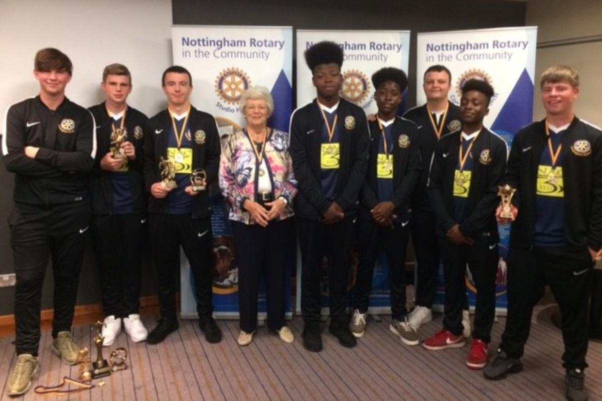 Nottingham Rotary Football Club awards with Shirley Mee