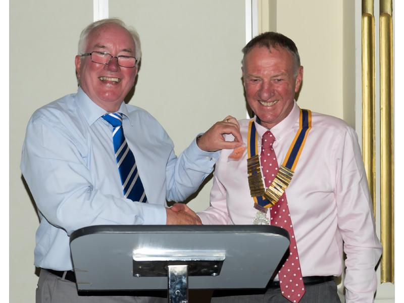 Handover Meeting - Outgoing President Bill Thomas hands over the chain of office to new President' Geoff Bigg