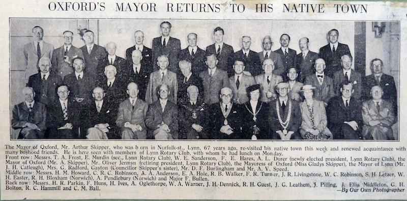 The attached photograph was discovered in a 1939 - 1949 Scrap book from Gaywood Park School and now held in the Town's Archives, by Rotarian Past President Michael Walker, whilst carrying out research on Gaywood Park School.   