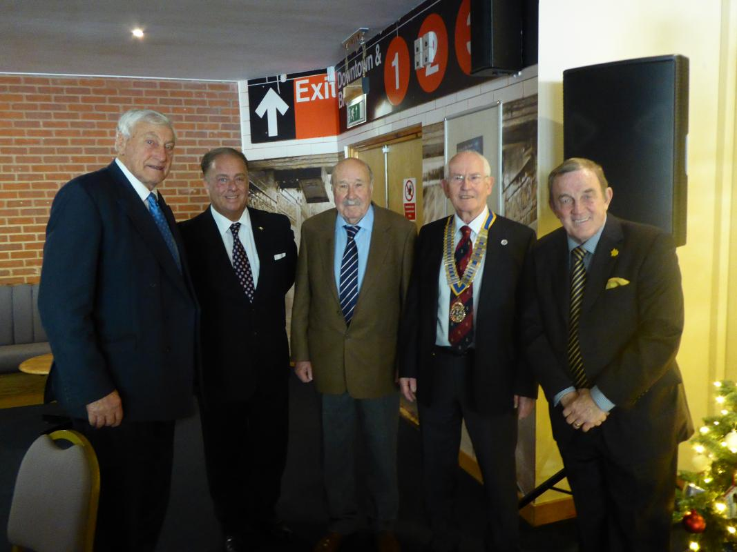 The photo shows President Graham Evans, sponsor John Herring, MC Ian Richards and the two rugby legends