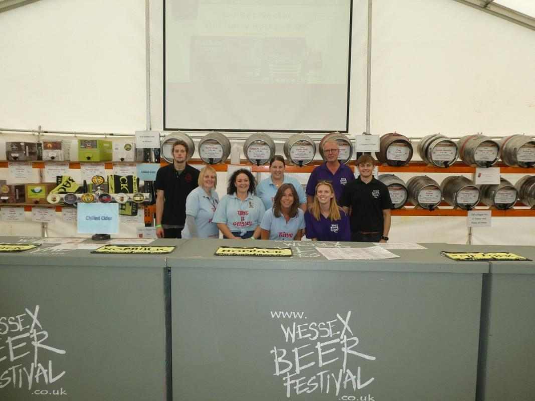 2018 Wessex Beer Festival - Rotary and Time is Precious volunteers waiting for the rush to start