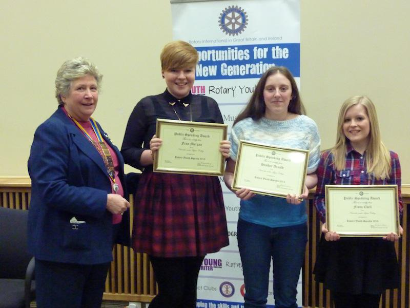 District 'Youth Speaks' Competition First Round - Club President Christine is with the winning team of (left to right) Fran Morgan (the main speaker), Heather Arnold (chairperson) and Fiona Chell (Proposer of Vote of Thanks)