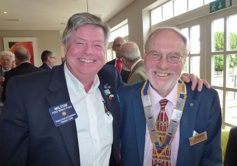 Speaker Meeting - The Wheelchair Foundation - Milton Frary of the Wheelchair Foundation with Hastings Rotary club president Raymond Barrett.