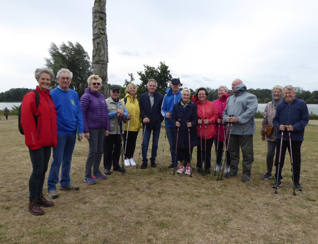 Tibbs Dementia Foundation attracts further support  - The walking group at the presentation of the new poles