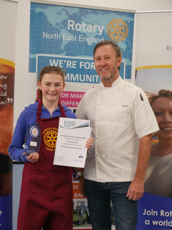 DISTRICT YOUNG CHEF WINNER HANNAH TAYLOR OF ALNWICK AND PHIL FARMER OF THE COOK AND BARKER, NEWTON ON THE MOOR.