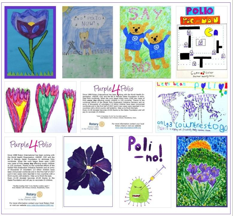 District 1090, with the help of Woodstock & Kidlington Rotary Club, ran a Purple4Polio art competition for primary school children and received an excellent response. Past DG Joy Arnott selected the best nine entries to be repro-duced in notelet form