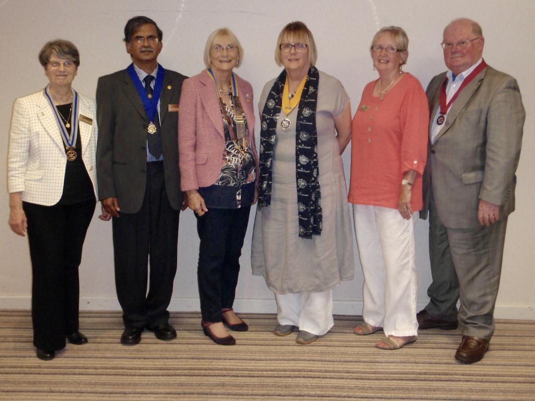 Secretary Coralie, Past President Raja, President Sandy, Vice President Mary, Foundation Lead Rose and Treasurer Robert
