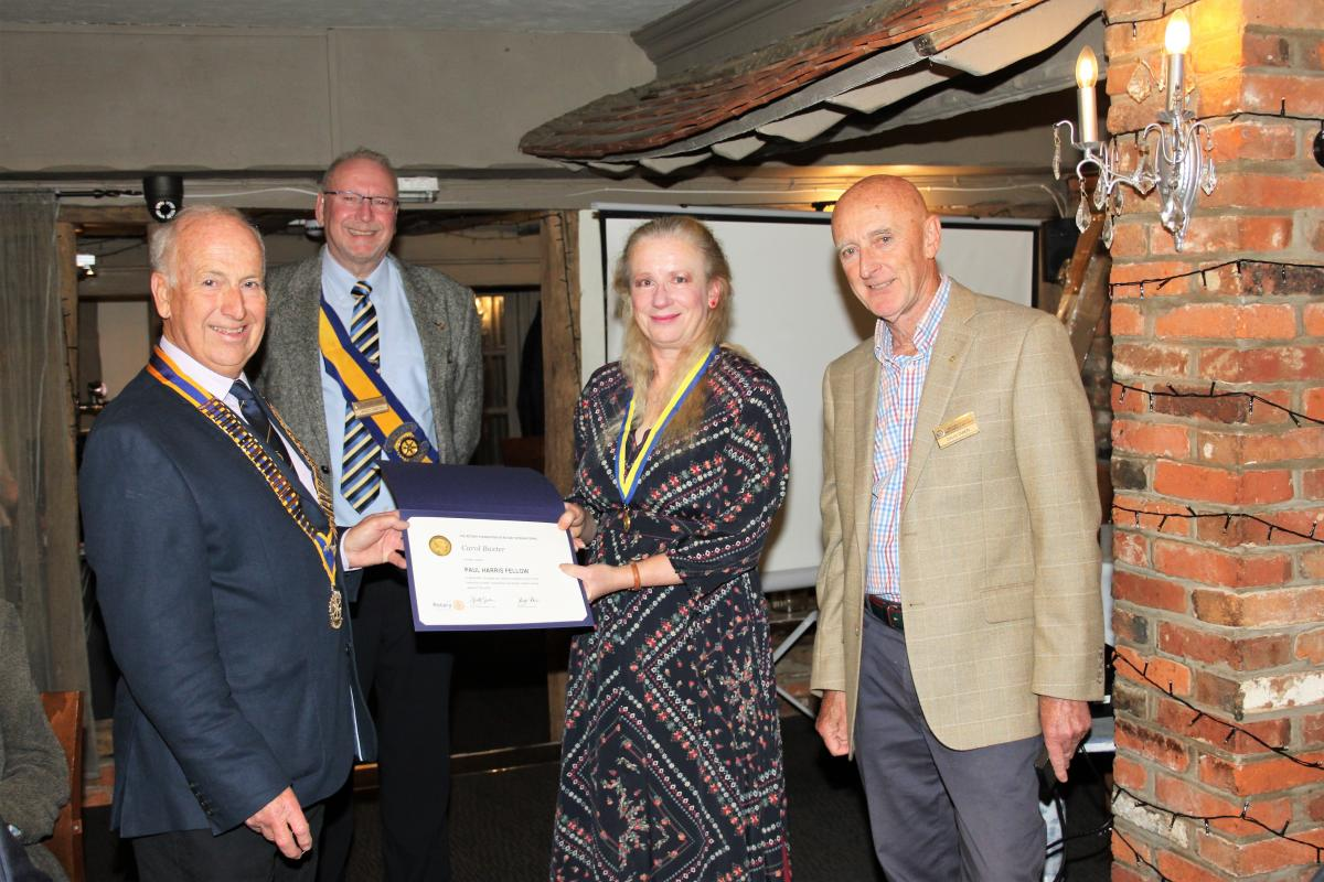 Local resident Carol Baxter was awarded a Paul Harris Fellowship for extensive achievements in the local community