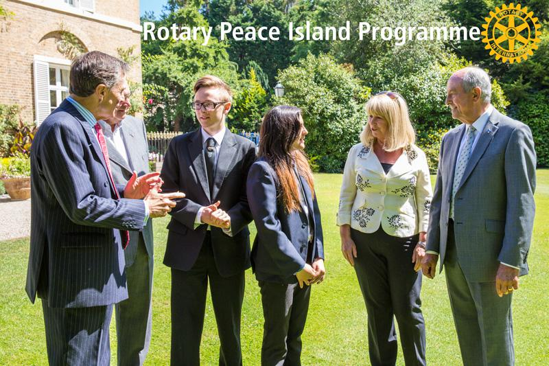 Peace Island Programme Launch - His Excellency with Grainville's representatives & Rotarian Tony Allchurch Chairman of the Rotary Peace Committee.