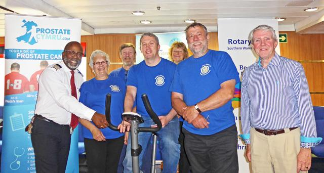 Twinning with Rotary Club of Wexford -  Pedaling on the ferry. Ferry Manager, President Maggie, David Annis, Niall Reck (Wexford), Vanessa Walker, Chris Williams, Eddie Breen (Wexford)