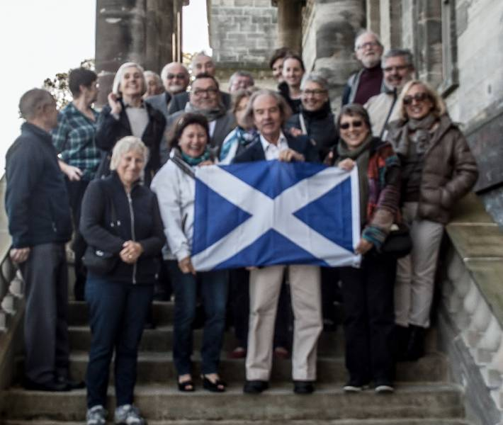 French Rotary Club visit to Penicuik - Our French visitors and a few of our members on the steps of Penicuik House on the final morning.