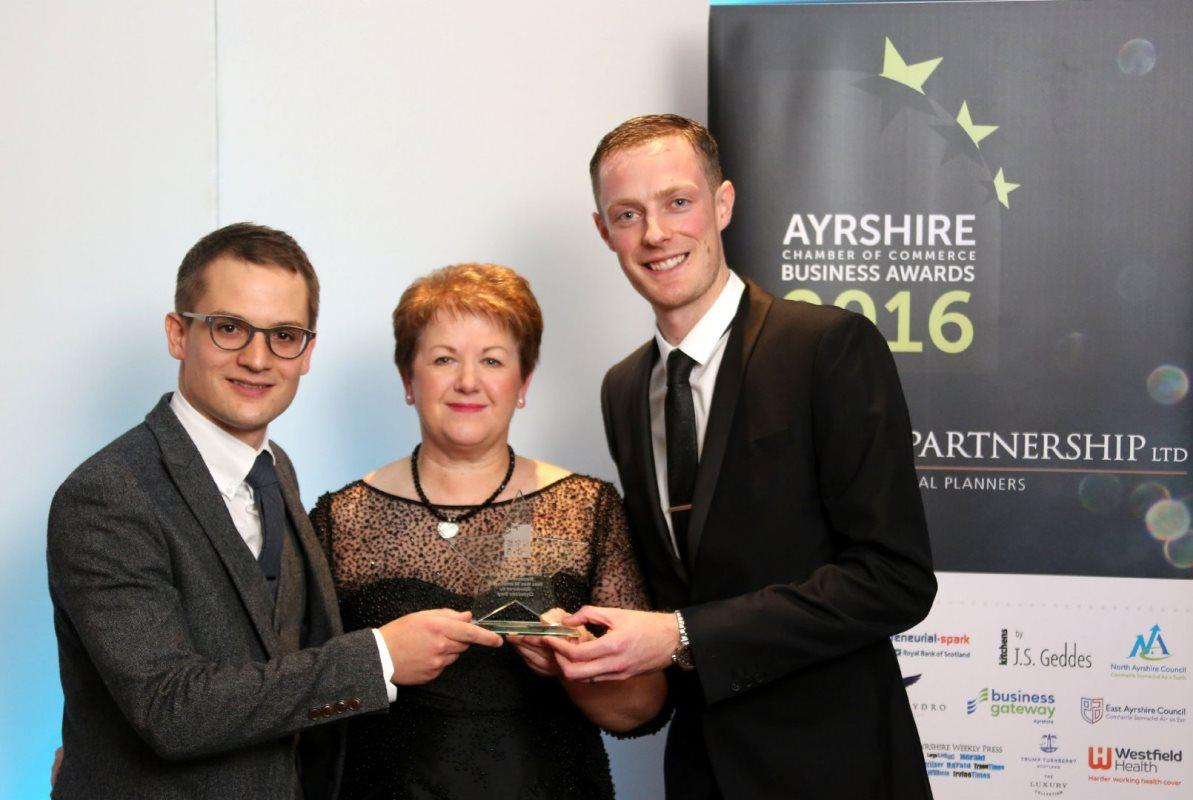 Peter Telfer and Alistair Duff on Eye Health - Alistair Duff and Peter Telfer being presented with their award - Outstanding Performing Business (under 50 employees) in October 2016