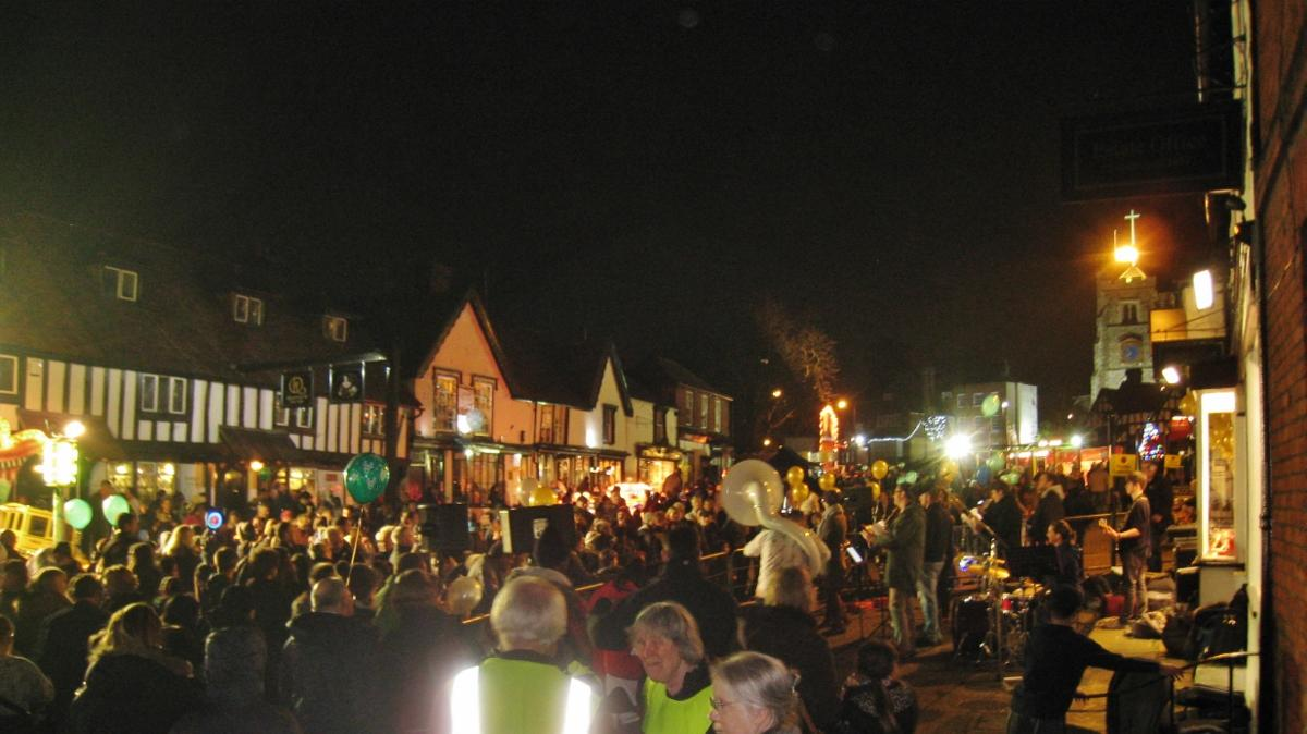 Pinner High Street on Panto evening