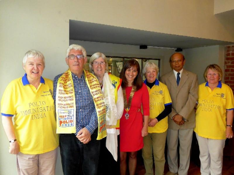 February 2016 Polio National Immunisation Day/August update  - 5 Members of the Club wearing Polio Immunisation T shirts and scarf's, went to India in February for the Polio Immunisation Day 2016, with President Senia