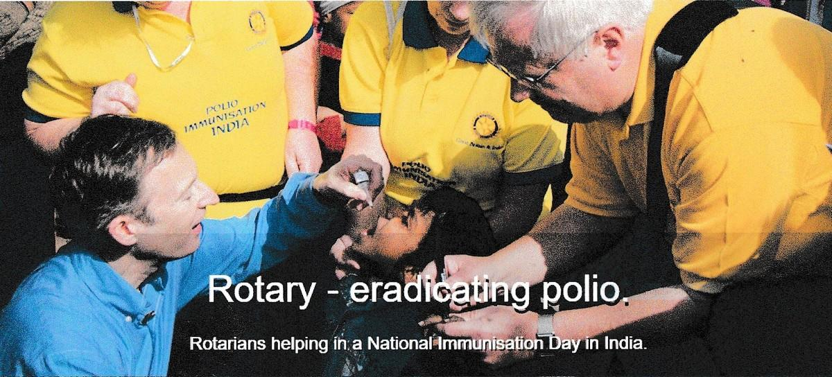 Polio:Ten facts & more to know - Visionary, sustained, ambitious and multi faceted project enduring nearly thirty years to eliminate polio.- Rotary volunteers administering vaccine to protect against polio.