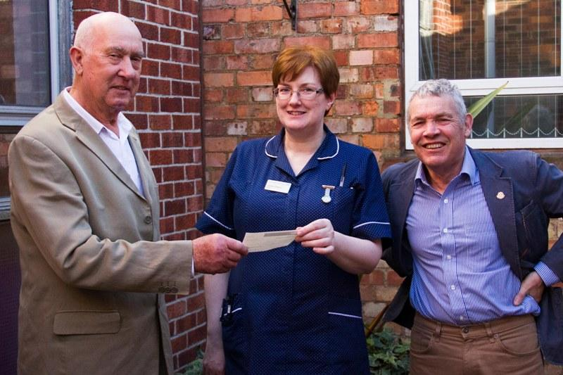 £1,000 donation to RUH - Mike and Norman present a cheque for £1,000 to Caroline Gilleece, Matron of RUH Oncology Department
