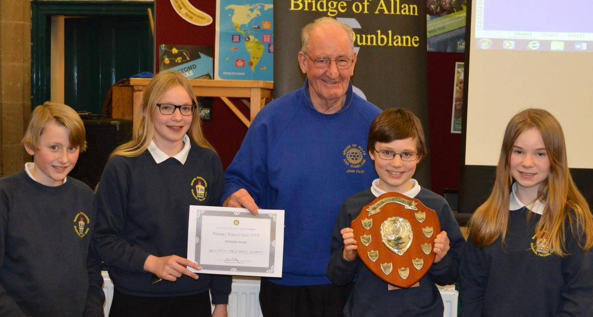 Primary School Quiz 8 March @Cathedral Hall Dunblane 15.30 - President john with the 2019 Winners Newton Primary