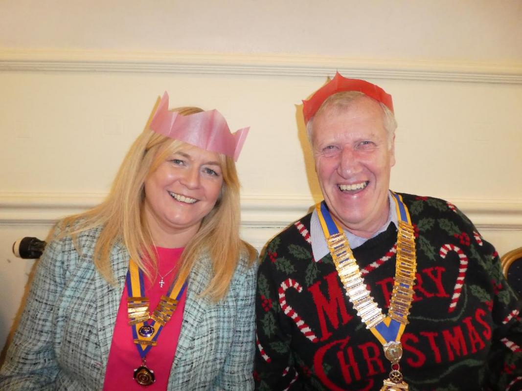 Christmas Lunch - President Michael with President Angela from The Inner Wheel