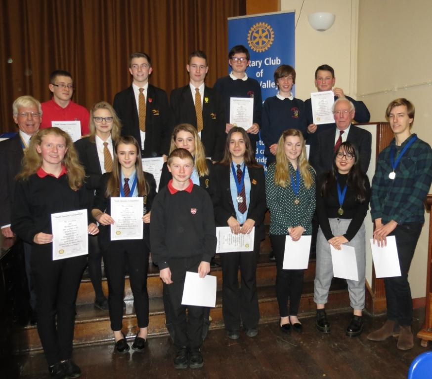 Youth Speaks - President of Brit Valley Rotary, Bob Ponchaud, the Youth Speakers, Chairman of Judges Professor Emeritus Clive Kennedy.