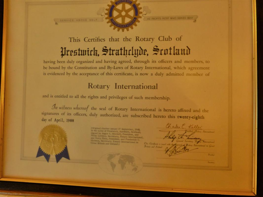 Prestwick Rotary is 70 years old - Prestwick Rotary Charter
