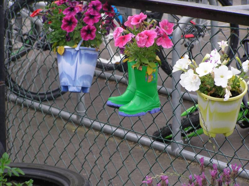 Primary School Garden Challenge - Welly boots and buckets put to good use by Sacred Heart Nursery.