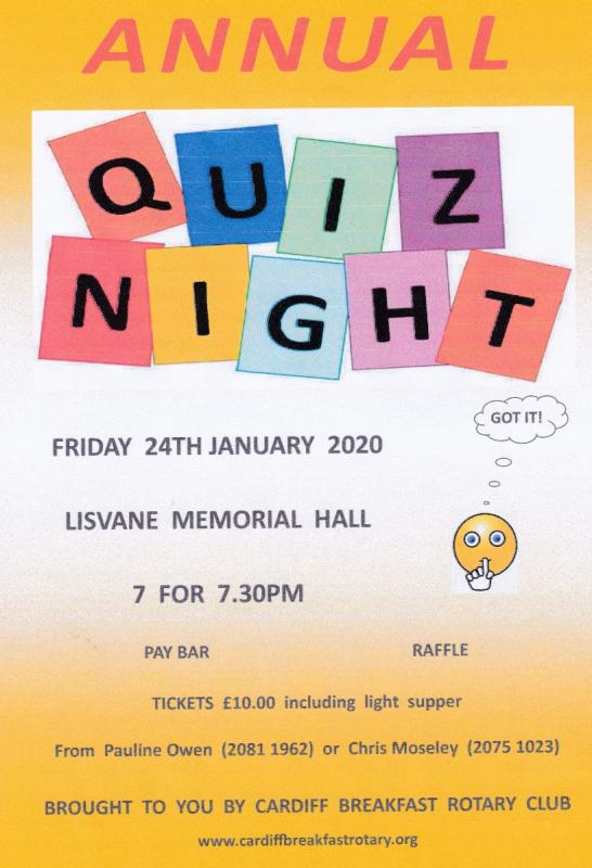 Annual Quiz Night 24th January 2020