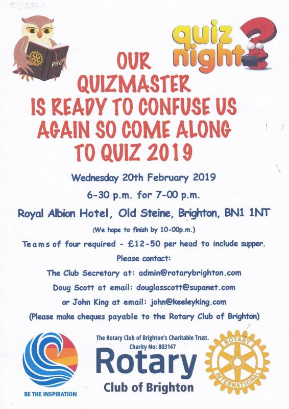 Quiz Night 2019 Flyer